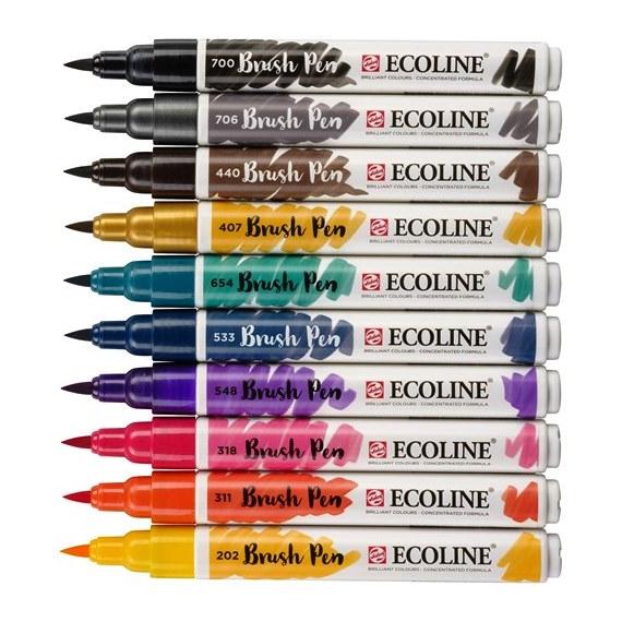 Μαρκαδόροι πινέλο Talens Ecoline brush pen dark σετ 10 τεμ